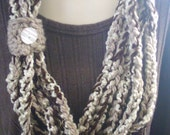 Chunky Crochet Necklace Scarf Cowl Brown Sand Cream