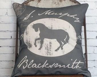 Pillow Cover Equestrian Horse Decor Vintage Blacksmith Style Pillow