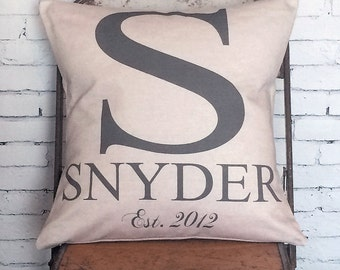 Wedding Gift Pillow Cover Large Initial Personalized Last Name Cotton Anniversary Gift