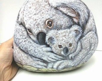 Koala Bears- Mother and her Twins- OOAK  Rock Art- by Shelli Bowler, Extra Large, ready for you to buy,Free shipping in U.S. on this item