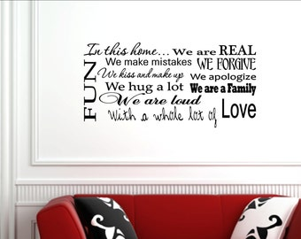 Vinyl Wall words quotes and sayings #1124 In this home...We are REAL