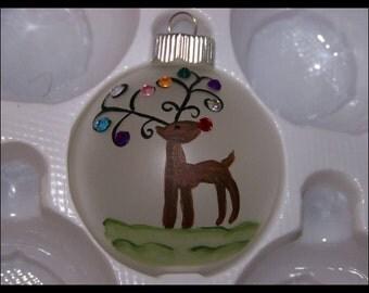 Handpainted Reindeer Bling Ornament