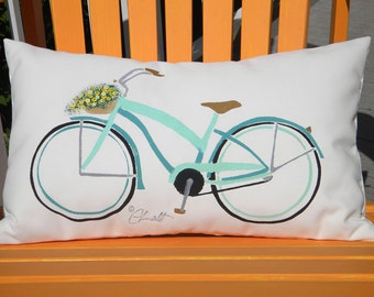 "Outdoor pillow BEACH CRUISER GIRL version 15""x20"" (38x50cm) beach bike bicycle cycling spokes gears Crabby Chris"