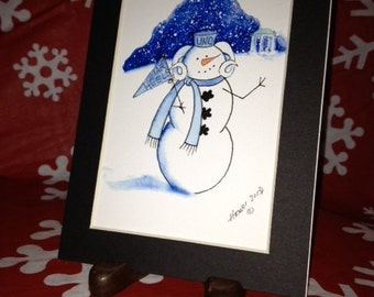 """UNC Snow Mascot - 5x7"""" Print in Black Mat"""