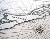 Bermuda, Letterpress Printed Map (Black and White)