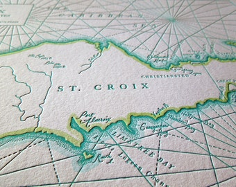 St. Croix, The Virgin Islands, Letterpress Printed Map (Turquoise)