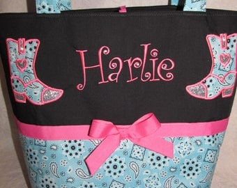 Country cowgirl boots diaper bag country bling girl boots bandana turquoise and pink diaper bag -baby bag- tote bag custom you choose name