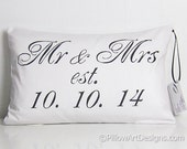 Personalized Pillow Est Date Wedding Mr and Mrs Lumbar Pillow Black and White 12 X 18 Made in Canada