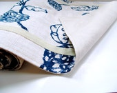 Table runner, 76 long, Summer home, table linen, tailored, navy blue and ivory, dining kitchen table decor, modern table runner
