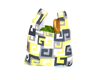 Market tote, shopping bag, yellow black grey, reusable tote, ecofriendly tote, grocery bag, farmers market bag, book bag. carry all bag