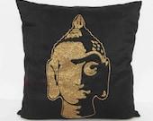 black  and gold pillow and cushion buddha cushion figurative cushion  sequins cushion meditation cushion inspiration silk cushion