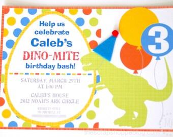 Dinosaur Custom PRINTABLE Birthday Invitation