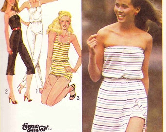Simplicity 9433 Vintage strapless Romper Playsuit Jumper Sew Pattern