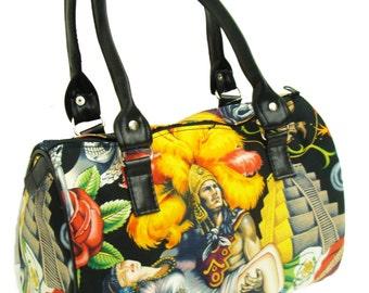 USA Handmade Handbag Doctor bag Satchel Style Aztec Contigo Latino Cultural Pattern Alaxander  Henry  Cotton Fabric Bag Purse, new
