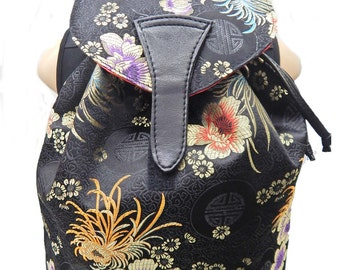 """Large Backpack with """"Purple And Silver Flowers"""" Pattern US hand made Bag Handbag purse , new,rare"""