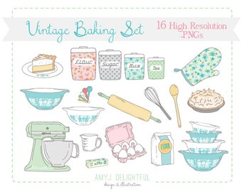 Vintage Baking Kitchen CLIP ART SET for personal and commercial use - pie, mixer, rolling pin, pyrex, canisters