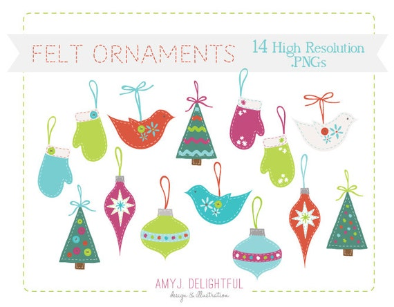 Felt christmas ornaments clip art set for personal and