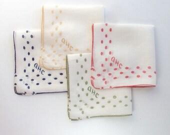 Handkerchief Lot, Polka Dots, Embroidered Initials, Child's Handkerchief, Vintage