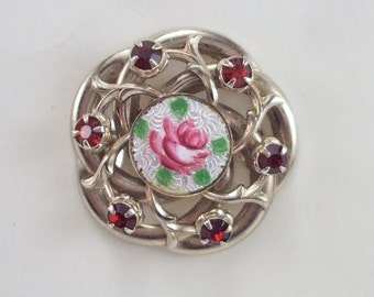 Brooch Scatter Pin Enamel Guilloche Rhinestone Vintage