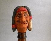 Wood hand carved Indian caricature bottle stopper