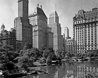 New York City Central Park Buildings Reflected in Lake 1930s Manhattan Skyscrapers Black & White Historic Urban Photography Photo Print