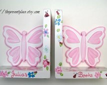 girls Gift set,Butterfly bookends,jewelry box,pink with colorful daisies,ladybugs, personalized gift set,gifts for girls,new baby gift,