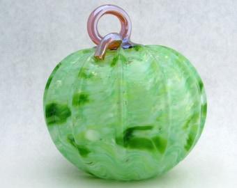 hand blown glass pumpkin GREEN opaque swirl & gold stem