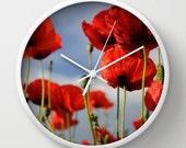 Wall Clock , Red Poppy, Red Poppies, Flower Clock, Blue Sky, 10 inch Clock