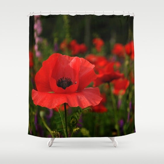 Items similar to Fabric Shower Curtain Red Poppy Flower