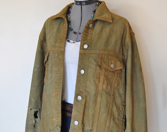 "Olive Large Denim JACKET - Green Olive Hand Dyed Upcycled Eddie Bauer Distressed Denim Trucker Jacket - Adult Women's Size Large (46"" chest)"
