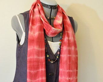 Red Dyed Cotton SCARF - Cherry Red Tan Hand Dyed Tie Dye Hand Made Shibori Cotton Skinny Scarf  #95 - 8 x 74""