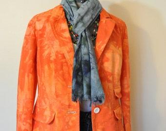 """Orange Jrs. Large Cotton JACKET - Fire Orange Hand Dyed Upcycled Calvin Klein Blazer Jacket - Adult Womens Juniors Large (40"""" chest)"""