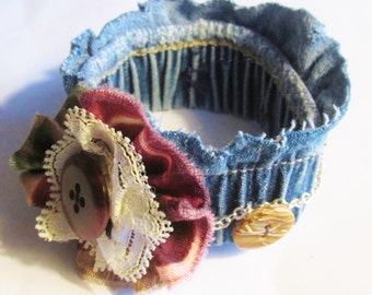 Elastic DENIM cuff bracelet recycled fabric silver chain  vintage buttons