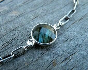 Sterling Silver Chain Labradorite Bracelet Handcrafted Bohemian Urban Modern