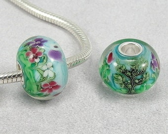 Spring Flowers Large Hole Lampwork Glass Bead - 925 Sterling Silver European Bead Charm