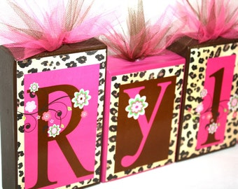Rylee Collection -Leopard Print w/ Flowers - Brown and Hot Pink -Personalized Blocks -Baby - Baby Shower