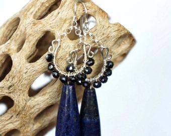 blue lapis and black spinel earrings- 'jennifer' earrings