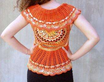 Orange mandala sun crochet bolero vest lace cotton boho waistcoat bohemian clothing festival