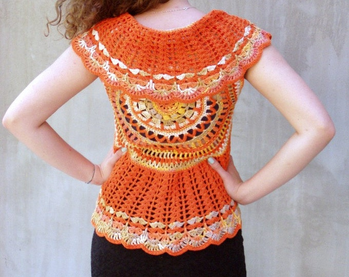 Featured listing image: Sun Orange crochet bolero mandala vest lace cotton boho waistcoat bohemian clothing festival