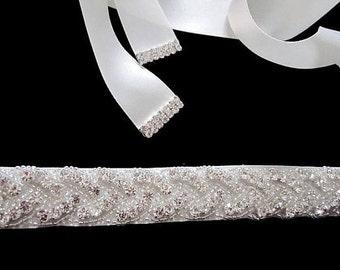 Bridal wedding dress gown crystal sash embellished belt 40mm