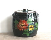 Pottery Crock, Vintage Stone Ware Pottery Crock Dark Brown Glaze Hand Painted Flowers