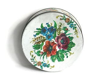 Vintage Biscuit Tin White Floral Needlepoint Shabby Distressed