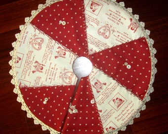 Valentine Sweet Sentiments Vintage lace patchwork tree skirt  Small petite size