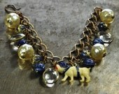 Vintage Yale Bulldog Charm Bracelet in Blue and Pearl - Vintage Assemblage