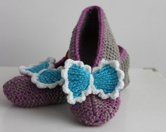 Gray and lilac slippers, slippers with turquoise bow, women slippers size 38 EU, US 7 slippers, gray ballerinas, slippers ready to ship