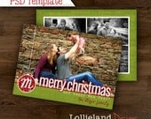 INSTANT DOWNLOAD- Christmas Card PSD Template- 5 Photo Ornament