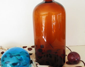 "Large Amber Apothecary Glass Bottle 13"" tall"