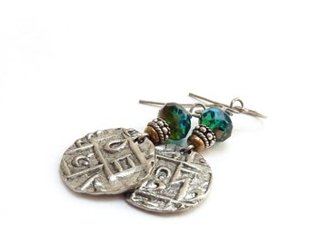 Silver Dangle Coin Earrings - Bhutan Replica Ancient Coins - Teal Fire Polished Beads - Etched Metal -  Boho Jewelry