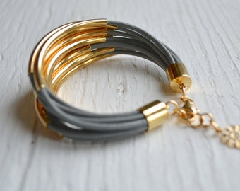 Grey Leather Cuff Bracelet with Gold Tube Beads - Multi Strand Bangle Women's Bracelet ... by  B A L O O S