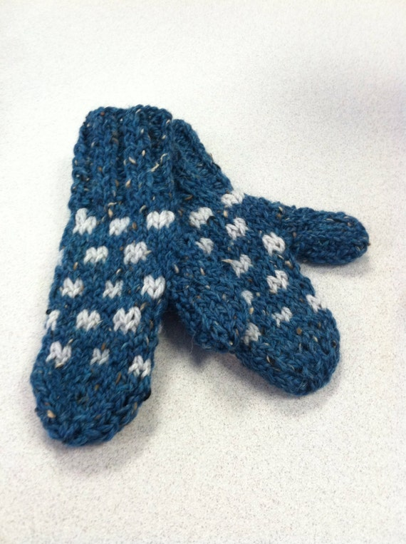 Donegal tweed merino wool teal and gray polka dot ribbed cuff childrens mittens